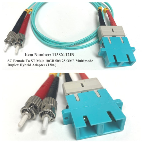 SC Female to ST Male 10GB 50/125 OM3 Multimode Duplex Hybrid Adapter (12in.)