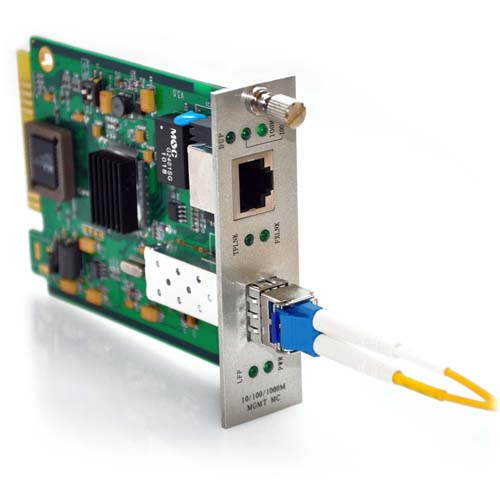 10/100/1000TX to 1000LX SFP with Singlemode LC Connector 10KM SNMP Managed Converter Card