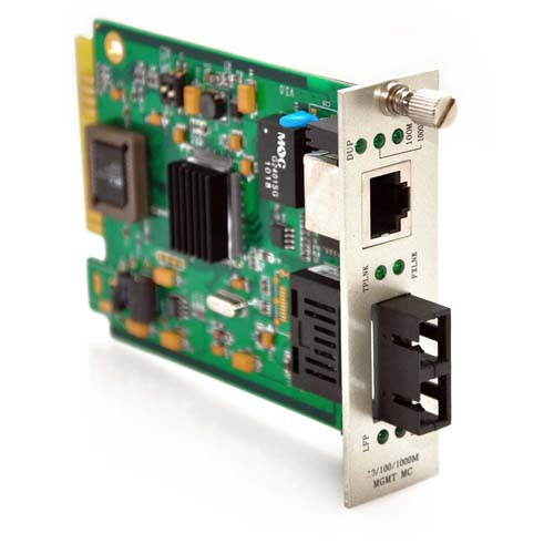 10/100/1000TX to 1000LX Singlemode 50KM SC Connector SNMP Managed Media Converter Card