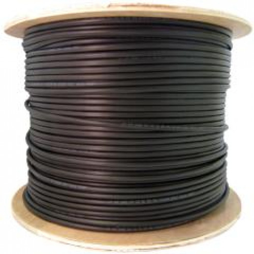 Black 1000ft Spool CAT5E CMX Outdoor Rated Solid Cable 350MHz 24AWG