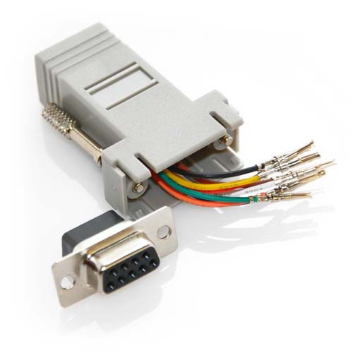 DB9 Female to RJ45 Female Adapter - Gray