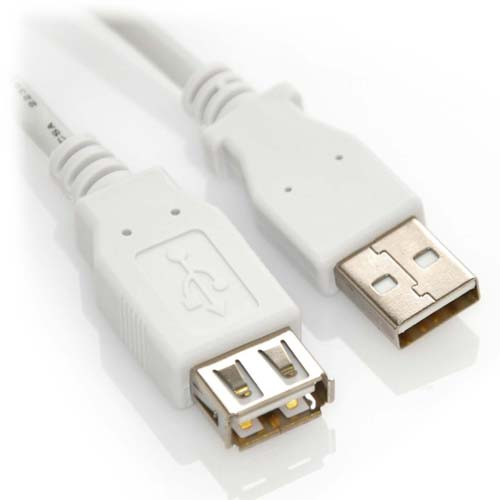 1ft USB 2.0 Extension A Male to A Female High Speed Cable White
