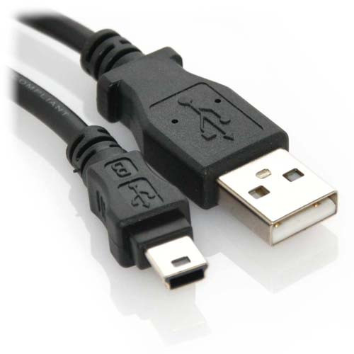 3ft USB 2.0 A Male to Mini B Male 5-Wire Cable Black