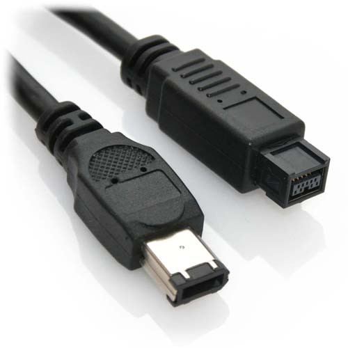 6ft FireWire IEEE-1394B 9PIN to 6PIN A/V Cable Black