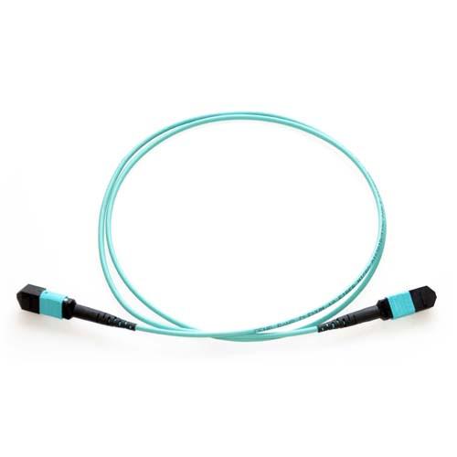 8m MTP 10Gb 50/125 Plenum Rated Multimode 12 Strand Fiber Patch Cable - Aqua