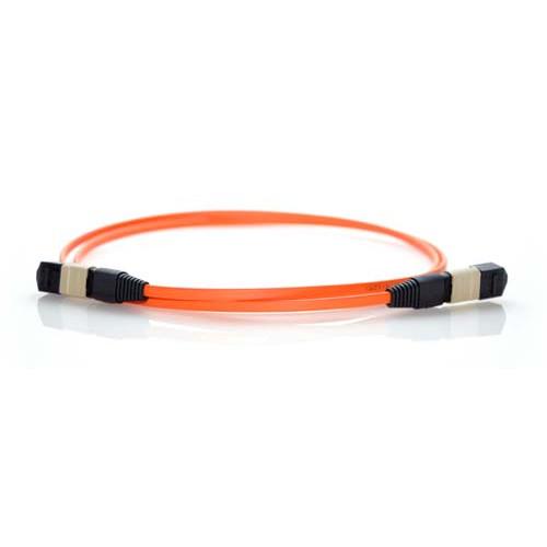 12m MTP 50/125 Plenum Rated Multimode 12 Strand Fiber Patch Cable - Orange