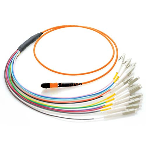 15m MTP to LC 50/125 Multimode 12 Strand Fiber Patch Cable - Orange
