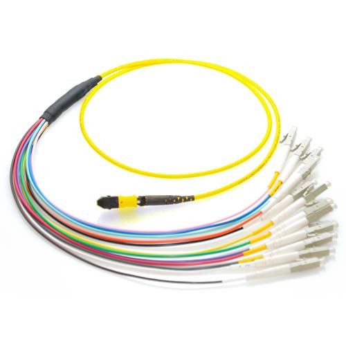 1m MTP to LC 9/125 Plenum Rated Single Mode 12 Strand Fiber Patch Cable - Yellow