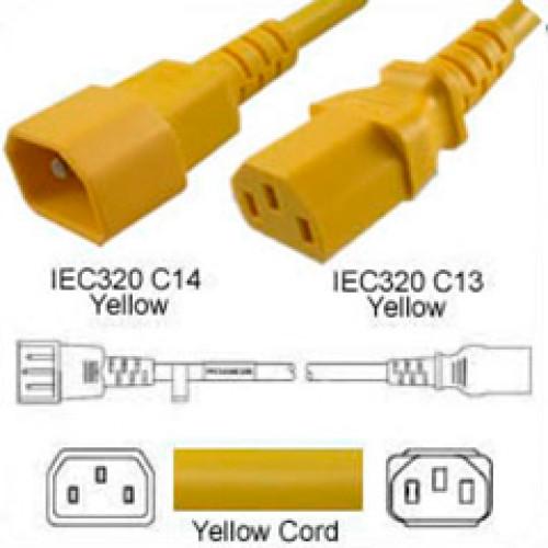 yellow c14 c13 power cord