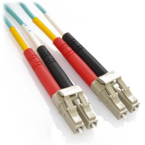 1 Foot LC/LC 10Gb Plenum Rated Duplex 50/125 Multimode Bend Insensitive Fiber Patch Cable Aqua