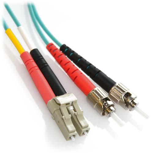 5m LC/ST 10Gb Duplex 50/125 Multimode Bend Insensitive Fiber Patch Cable Aqua