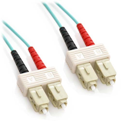 20m SC/SC 10Gb Duplex 50/125 Multimode Bend Insensitive Fiber Patch Cable Aqua