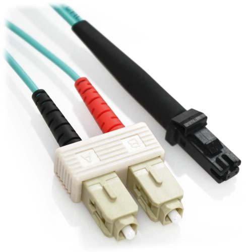 9m SC/MTRJ 10Gb Duplex 50/125 Multimode Bend Insensitive Fiber Patch Cable Aqua