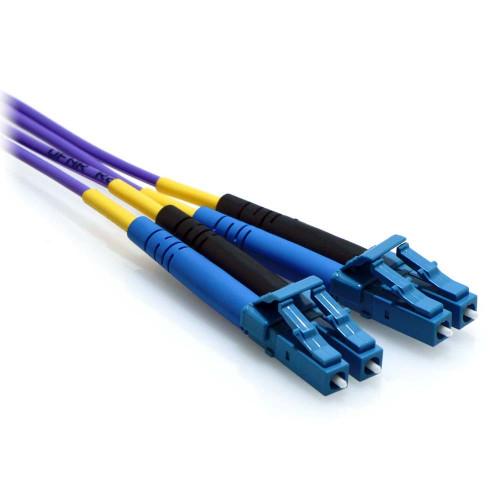 10m LC/LC Plenum Duplex 9/125 Single Mode Fiber Patch Cable Purple