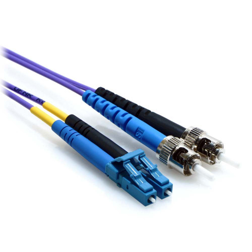 1m LC/ST Duplex 9/125 Single Mode Fiber Patch Cable Purple