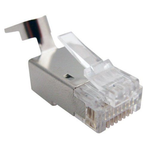 CAT6 Shielded 8P8C Crimp Connectors with Guide Bar for Solid Wire - 100 Pieces