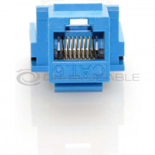 Blue CAT6 Inline Coupler with Keystone Latch