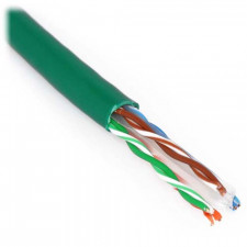 Green 1000ft Cat6 550 MHz Plenum Solid Bulk Cable 23AWG
