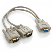 1ft DB9 Serial Y Cable Single Female to Dual Male