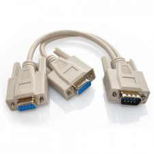 1ft DB9 Serial Y Cable Single Male to Dual Female