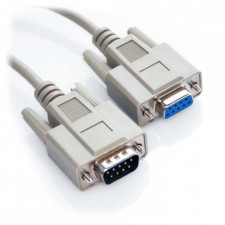 50ft DB9 Male to DB9 Female Straight Through Serial Cable Beige