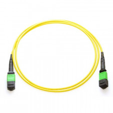 20m MTP 9/125 Plenum Rated Single Mode 12 Strand Fiber Patch Cable - Yellow