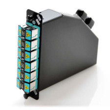 MTP 24 Port 10Gb LC Cassette with 12 LC Aqua Duplex Shuttered Adapters