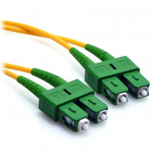 10m SC/APC to SC/APC Duplex 9/125 Singlemode Fiber Patch Cable Yellow