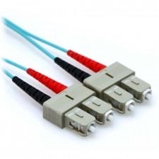 10m 10 Gb Plenum SC/SC Duplex 50/125 Multimode Fiber Patch Cable Aqua